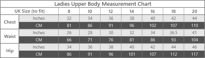 ladies outdoor clothing upper body size guide