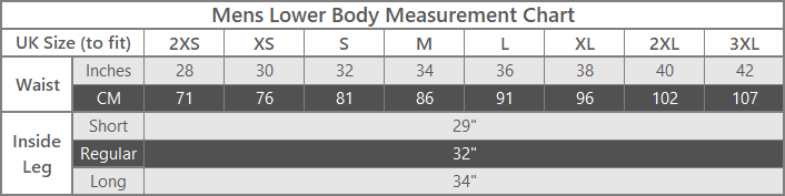 mens lower body outdoor clothing size guide