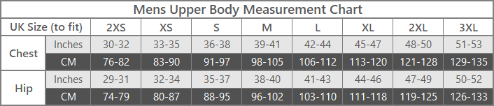 mens outdoor clothing upper body size guide